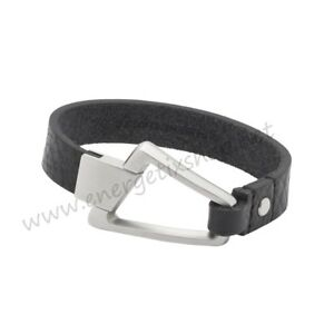 Energetix Magnetic Decoration Men's Leather Bracelet With Brushed Stainless 3256