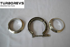"""HEAVY DUTY STAINLESS STEEL V-BAND 62MM 2.5"""" EXHAUST DOWNPIPE DECAT CLAMP FLANGE"""