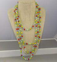 "Vintage Art Deco Flapper Glass Bead Harlequin Long Necklace Sautoir 88"""