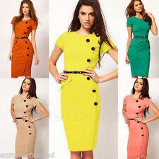Beige Fashion Women Pencil Dress Business Work Slim Bodycon  Dress Size 6-8