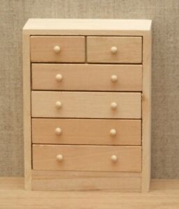 1:12 Dolls House Chest of draws - Bare wood