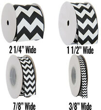 "Chevron Grosgrain Ribbon 3/8"",7/8"",1 1/2"",2 1/4"" widths 5 &10 yd rolls 19 colors"