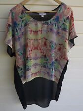 Cotton On Women's Sheer Blue Yellow Red & Green Top - Size S