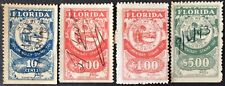 4 different Florida State Documentary Tax Stamps, 10c - $5, Used