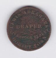 1855 Lewis Abrahams Draper Half Penny Trade Token Liverpool st Hobart Tasmania