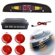 Car Rear Reversing Reverse Parking LED Display 4 Sensor Kit Audio Alarm Red