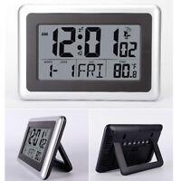 Atomic Digital Snooze Wall Clock Time Calendar Indoor Temperature Large Display