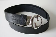 Gucci 449715 Belt Leather Unisex Size 100 Black Blue Silver