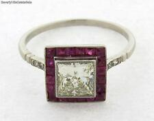 Art Deco Princess Cut 1C Diamond Rubies Platinum Ring