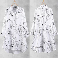 Women Button Down Long Sleeve Shirt Casual Holiday Loose Printed Blouse Tops NEW