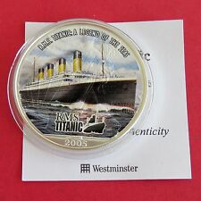 2005 TITANIC COLOURED 1oz .999 SILVER EAGLE DOLLAR WITH COA - maiden voyage
