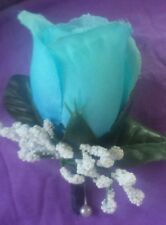 Rose Boutonniere*Corsage Turquoise, Aqua *Groom*Best man*Prom*Party*Quinceanera