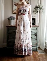 Long Boho Peasant Prairie Maxi Dress M Floral Medium