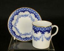 2 x C1907 Blue & White Royal Worcester DEMI-tabili Tiny tazze e piattini trembleuse
