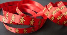 3/8 inch GINGERBREAD MAN men cookie print on red satin Christmas RIBBON - 1 yd