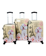 CHARIOT Yellow Paris DOG POODLE 3 PC HARDSIDE LUGGAGE SPINNER  CARRYON SUITCASE