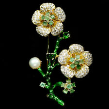 NATURAL WHITE PEARL, EMERALD, DIOPSIDE & CZ 925 SILVER BROOCH