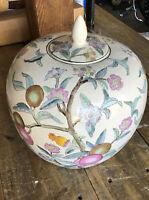 "Vintage Asian Fruit & Flower WBI Chinese Ginger Jar Large China 10"" Lid Vase"