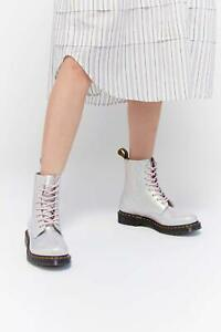Doc Martens 1460 PASCAL Boot Mother of Pearl Croc Pink Womens Size 8 39 New