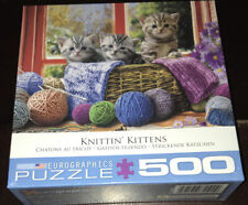 "NEW SEALED Eurographics Puzzle Jigsaw Puzzles KNITTIN"" KITTENS Tabby Kittens Cat"