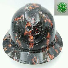Hard Hat FULL BRIM custom hydro dipped , OSHA approved CYBORG SKULL  NEW