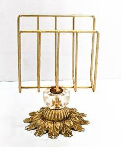 Art Deco Era Napkin Holder Brass Wuth Glass Jewel A03