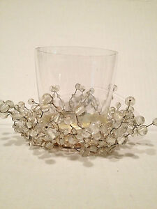 POTTERY BARN WHITE PEPPERBERRY GLASS CANDLE VOTIVE  New