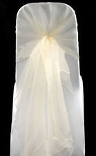 100 Ivory WEDDING ORGANZA HOODS SASHES CHAIR COVER WRAPS BOW SASH