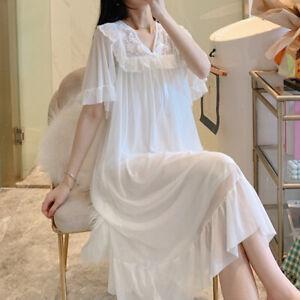 Womens Lolita Nightdress Floral Lace Ruffles Sleepwear Nightgown Princess Sweet