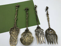 Vintage Italy Bellini Decorative Ornate Fork & Spoon Cherub Serving Pieces 4