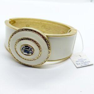 NWT New Lia Sophia Enameled Cream Bangle Bracelet Crystal Hinged Alabaster