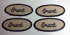 GRANT EMBROIDERED SEW ON NAME PATCH LOT OF 4 ~ NAME TAG