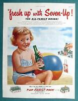 1952 Seven-Up Ad 7 Up Soda Ad BEACH GIRL - FRESH UP WITH THE ALL FAMILY DRINK