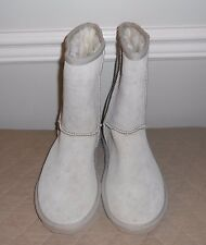 Lamo Suede, Leather Pull-on Boots with Faux Fur Fleece Lining size 7 TAN A85132