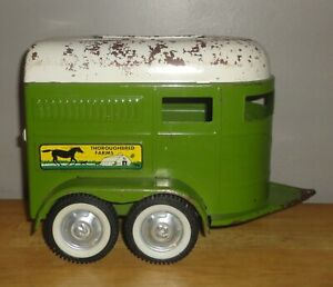 Vintage NYLINT THOROUGHBRED FARMS Horse Trailer Green & White Pressed Steel