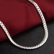 """1PCS Women 925 Silver Plated 5MM Side Pendant Chain Necklace 20"""" Jewelry"""