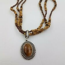 Avon SP Necklace Brown Cats Tigers Eye Faux Wood Beaded Multi Strand Silver Tone