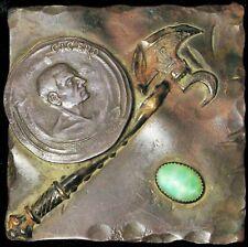 ANTIQUE UNIQUE ANCIENT ROMAN COIN CICERO BATTLE AXE HAND GREEN CABOCHON BROOCH !