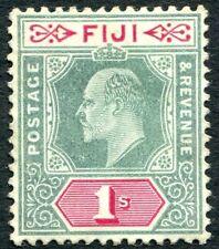 More details for fiji-1909  1/- green & carmine sg 117 average mounted mint v32328