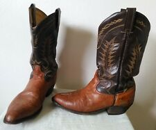 TONY LAMA all leather cowboy boots light brown shoe & dark brown shaft 9 1/2 D