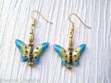 Azul Amarillo Verde Metal Mariposa Oro plateado con cuentas pendientes Bolsa De Regalo