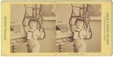 Enfant à la chaise Photo E. Biegner Berlin Allemagne STEREO Vintage Albumine