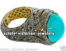 Artdeco Estate 6.35cts Rose cut Diamond Turquoise Silver Cocktails Ring Jewelry