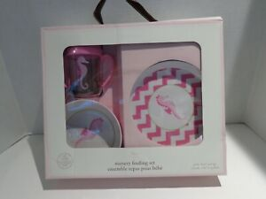 Pottery Barn Kids Melamine Plate Bowl Sippy Cup Feeding Set ~ Pink Seahorse
