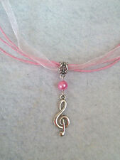 10 TREBLE CLEF MUSICAL NECKLACES  FAVORS. COLOR IS CUSTOMIZABLE. FAST SHIPPING