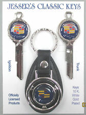 Navy Blue Cadillac A/B Classic White Gold Deluxe Key Set 1967 1971 1975 1979