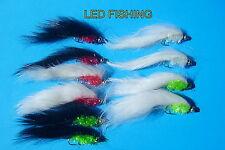 10 X ASSORTED LONGSHANK FRITZ GOLDHEAD ZONKER FISHING FLIES SIZE 10  (020)