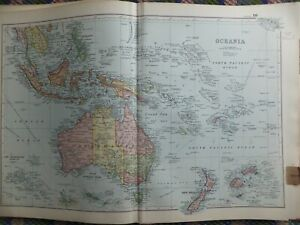 1902 antique map Australia Fiji Pacific Ocean islands Bali Java New Zealand