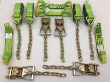 8 pt Kit of Hi-VIZ TECNIC Webbing Rollback / Flatbed Car Tie-Down w/ Chain Tails