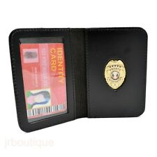 Private Investigator Eye Detective PI Courtesy Badge Leather Black Wallet NEW